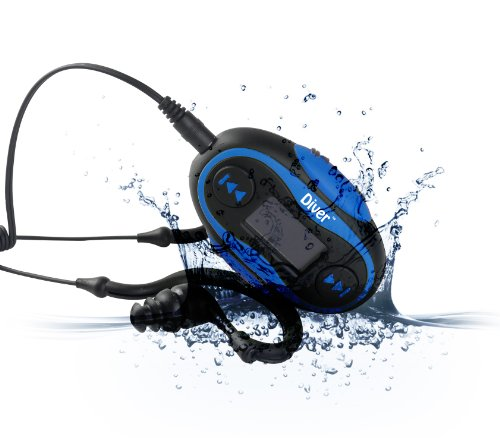 Diver (Tm) Waterproof Mp3 Player With Lcd Display. 4 Gb. Kit Includes Waterproof Earphones. New. (Blue)