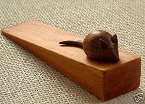 Large Hand Carved Wooden Mouse Door Stop Doorstop Door