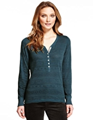 Indigo Collection Cotton Rich Henley Neck Jacquard Lace Top
