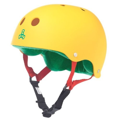 Triple 8 Brainsaver Rubber Helmet with Sweatsaver Liner (Rasta Yellow Rubber, Large)