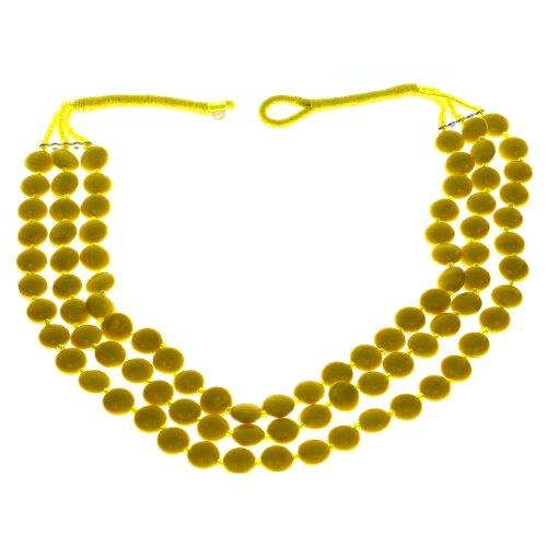 Yellow Beaded Necklace Indian Handmade Costume Jewelry Fashion