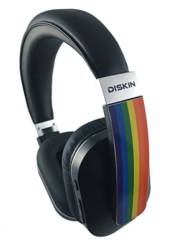 Limited Edition Diskin Bluetooth Wireless Over-Ear Headphones with Inline Microphone & Carrying Case - LGBT Gay Pride Rainbow Flag Headphones