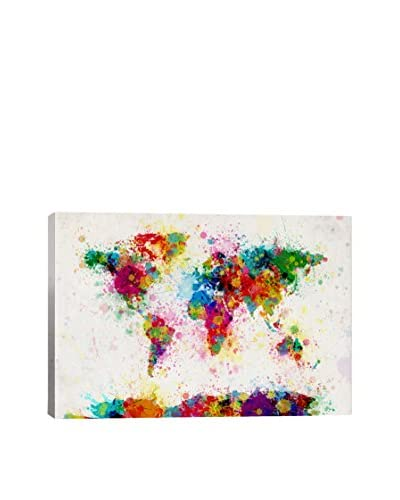 World Map Paint Drops III Gallery Wrapped Canvas Print