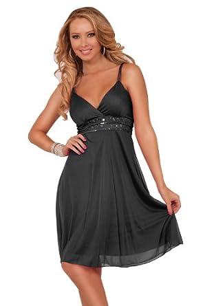 Women's Formal Chiffon V Neck Spaghetti Strap Knee Length Empire Waist Dress