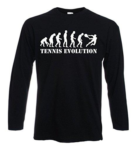 t-shirt manica lunga nera tennis evolution olimpic sport ginnastica palestra S M L XL XXL uomo donna bambino maglietta by tshirteria
