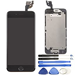 Repair Cracked iPhone 6 4.7 inch LCD Display Screen Touch Digitizer Full Assembly Replacement with Home Button+Front Facing Camera Proximity Sensor+Ear Speaker+Full Repair Tools, Black