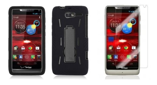 Motorola Luge - Black Symbiosis Stormer Impact Shockproof Armor Kickstand Case Cover + Atom Led Keychain Light + Screen Protector Guard