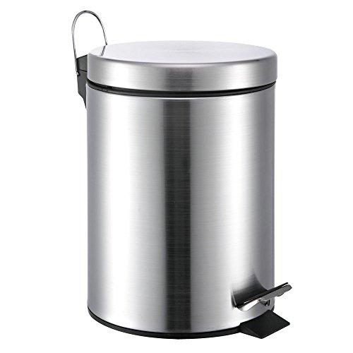 5 Liter Mini Round Stainless Steel Step Trash Can (Stainless Steel Trash Can 5 Liter compare prices)