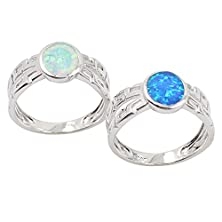 buy Sinlifu® Authentic Blue Australian Opal 925 Sterling Silver Ring (6)