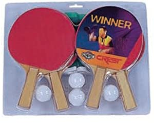 Crest 4 Player Table Tennis Ping Pong Table Set w/Paddles, Balls, Rules, Net, & Post