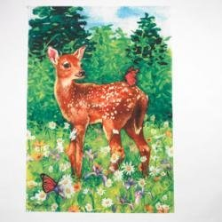 Fawn in Meadow Spring House Flag