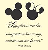 Laughter is timeless, imagination has no age, and dreams are forever. Walt Disney Vinyl wall art Inspirational quotes and saying home decor decal sticker