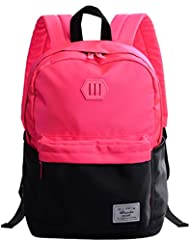 Douguyan Teenager Backpack Bright Kid's Colors School Bag For Boys And Girls Pink And Black 196
