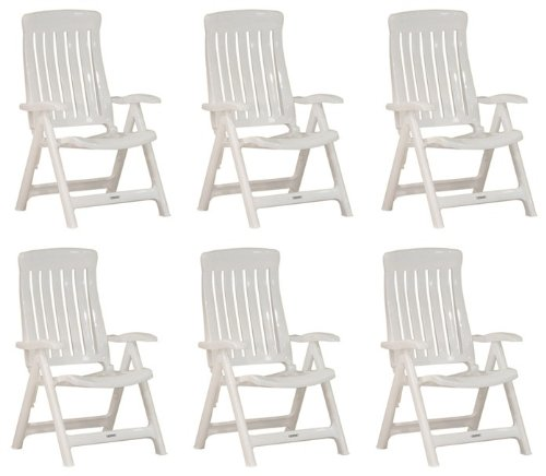 Garten Klappstühle Steiner MARINA 6er Set verstellbar Kunststoff Weiß