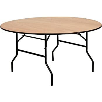 Flash Furniture 60 Round Wood Folding Banquet Table with Clear Coated Finished Top