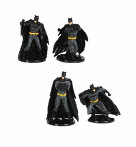 DC Comics Miniature Figurine/Cake Topper Set - Includes: 4 Batman Figurines in Different Poses - 1