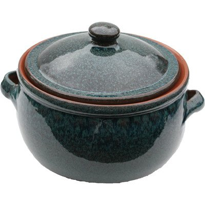 Amazing Cookware 1.5 Litre Terracotta Stew Pot, Peacock Green by Amazing Cookware