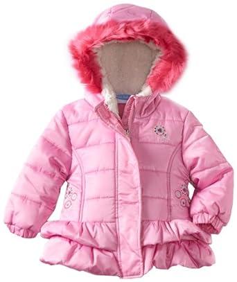 Bon bebe Baby-girls Infant Heavy Weight Ruffled Bottom Jacket, Pink, 18 Months