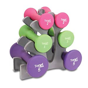 Tone Fitness - Hourglass Dumbbell Set, 20lb