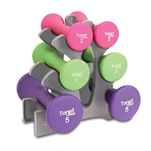 Tone Fitness Hourglass Shaped Dumbbell Set with Rack, 20 Pounds