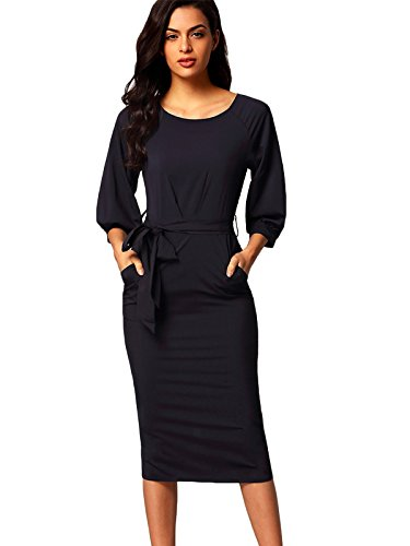 SheIn Women's Puff Sleeve Belt Chiffon Slim Dress Medium Navy