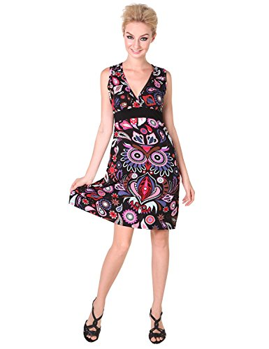 Chic Mariposa Trendy Owl Paisley Printed Women's Summer Dress - Black / Purple - XL