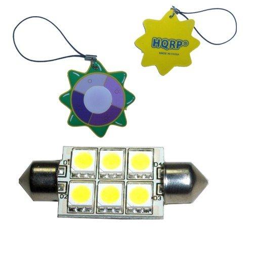 Hqrp Festoon 37 Mm 6-Smd5050 Led Bulb Cool White Compatible With Bmw E53 E70 X5 M No Error Plus Hqrp Uv Chain / Uv Radiation Health Meter