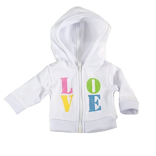 18 Inch Doll Sweatshirt Hoodie by Sophia's, Fits 18 Inch American Girl Dolls Clothes & More! Embroidered White LOVE Zip Up Doll Hoodie