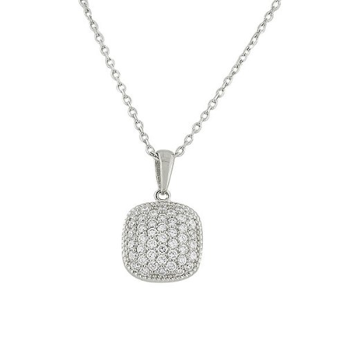 Sterling Silver Yellow Rose Gold Plated Silver-Tone Womens Square White Crystals Cz Pendant Necklace (Rhodium Plated)