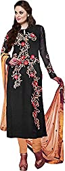 Haya Creations Women's Georgette Dress Material (1003, Black)