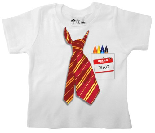 Dirty Fingers - Neck Tie & Name Badge, The Boss - Baby & Toddler T-Shirt, 18-24 Mths, White