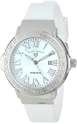 """Swiss Legend Women's 20032D-02 """"South Beach Collection"""" Stainless Steel, White Silicone, and  Diamond Watch"""