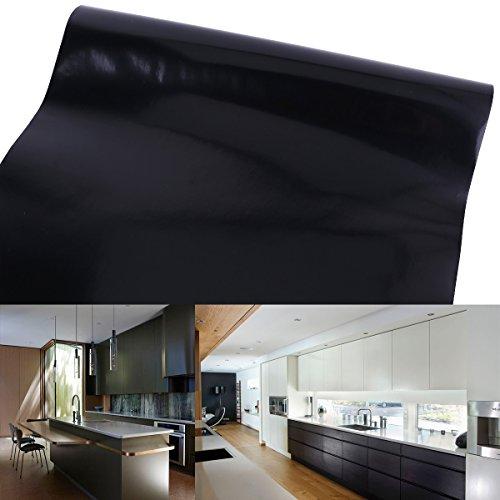 CLE-DE-TOUS-Papel-pintado-moderno-Color-Negro-Liso-Impermeable-Vinlico-PVC-10m-x-61cm-rollo