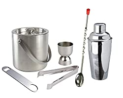 Stainless Steel Classic Bar Set( Set of 6 Pcs.)- Ice Bucket , Tong, Peg Measurer, Bottle Opener, Bar Spoon & Cocktail Shaker