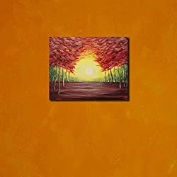 999Store wooden framed sun set printed poster like painting (35x35 cm)