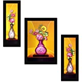 Avercart Flower / Floral Art / Colorful Flowers / Blooming Flora Set Of 3 Poster 12x18 Inch With Photo Frame (...