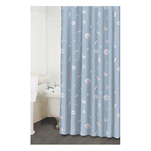 ... Cover Dusty Blue Gray & White Ocean Sea Shells Fabric Shower Curtain