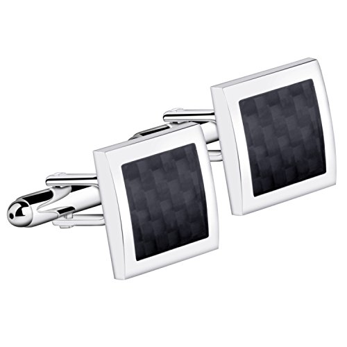 Zodaca Mens Silver Frame And Black Pattern Vintage Wedding Party Birthday Gift Novelty Shirt Cuff links Cufflinks