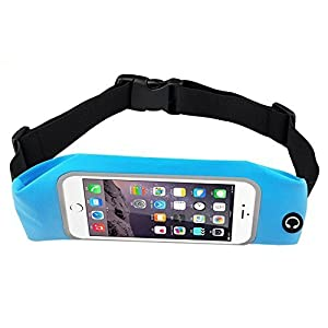 Bee Exercise, Running Waist Pack for 5.5 Inch Cellphone - Outdoor Belt Bag - Touch Operating Directly With Transparent Film, Blue Color