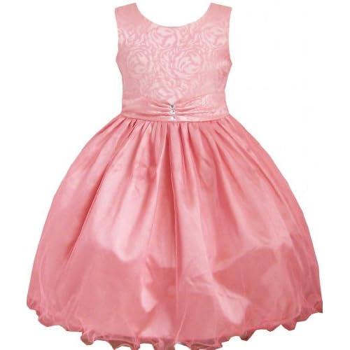 DE85 子供ドレス キッズドレス 結婚式 発表会 コー ラル 多層 ダイヤモンド ブティック 140cm