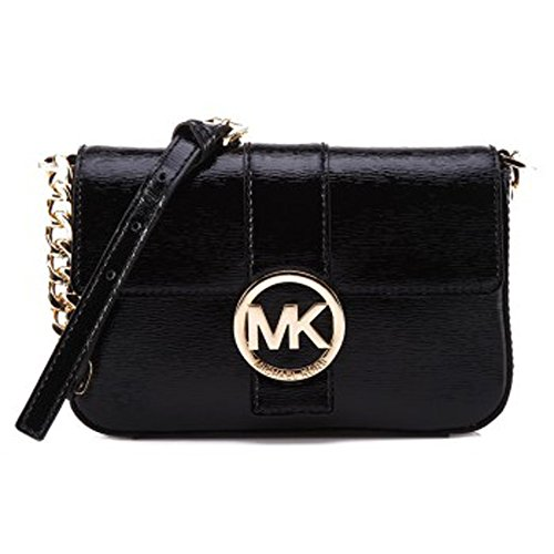 Michael Kors Fulton Small Black Patent Leather Messenger Bag