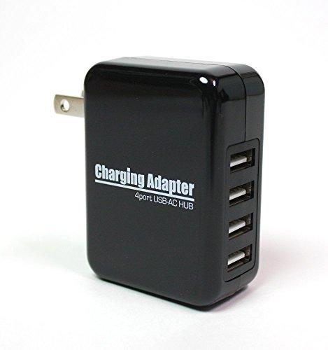 4ポートUSB-AC充電アダプター 急速充電2.1A対応 出力合計最大4A 100V~240V対応 20W スイングACプラグ iPhone iPad Android 携帯電話 タブレット WiFiルーターなど ブラック
