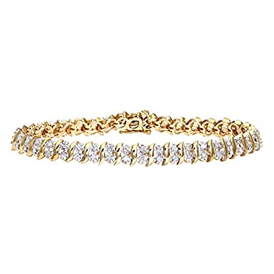 Ariel 1 Carat Diamond Pave Setting Bracelet in 9ct Yellow Gold