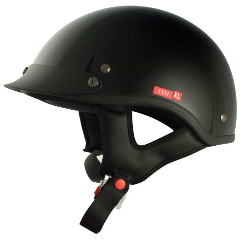 VCAN V531 Cruiser Solid Gloss Black Large Half Helmet