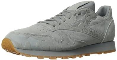 Reebok Men's CL Leather Embossed Camo Classic Shoe,Flat Grey/Tin Grey/Gum,8.5 M US