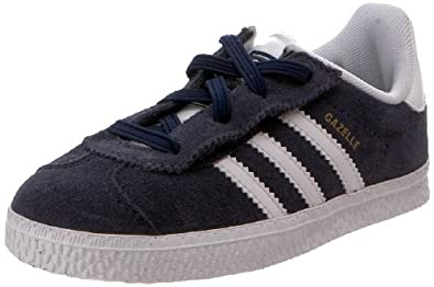 adidas Originals Gazelle Comfort Sneaker (Infant/Toddler),Marine/White/Metallic Gold,5.5 M US Toddler