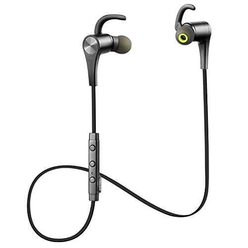 SoundPEATS Q12 Bluetooth Kopfhörer Sport Magnetischer Ohrhörer in Ear Ohrhörer mit Mikrofon, APTX Technologie und Geräuschdämpfung Technologie CVC 6.0, Stereo-Sound Top-Qualität (Schwarz)