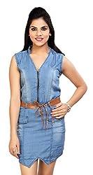 Carrel Brand Imported Denim Fabric Stylish Sleevless A-line Short Dress with Belt Blue Colour Women L Size.