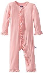KicKee Pants Baby-girls Newborn Ruffle Coverall, Lotus, 0-3 Months
