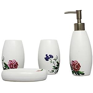 Decoración del hogar dispensador de jabón de baño de cerámica, soporte para cepillo de dientes, enjuague bucal y jabonera, conjunto con tema de flores.